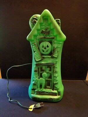 "Rare Vtg Empire Green Halloween 17"" Lighted Blow Mold Haunted House Decoration"