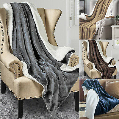 Fleece Warm Blanket Plush Fabric Soft Thickened Throw Bed Chair Sofa Twin Queen