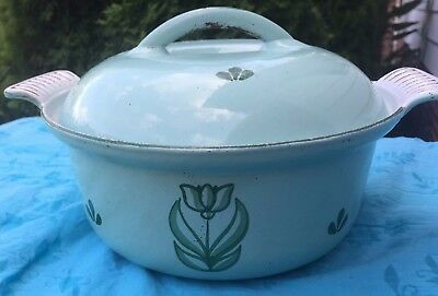"Dru Holland Casserole dutch oven Cast Iron Enamelware Green Tulip #18, 7.25"" dia"