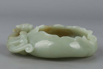 Chinese Exquisite Hand-carved beast Carving Hetian jade Brush Washer