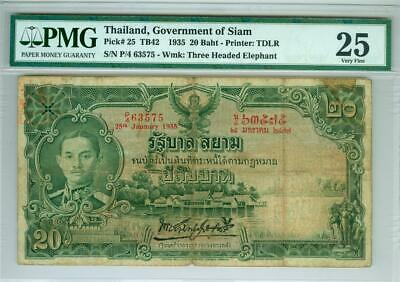 Thailand Government Of Siam 1935 20 Baht P-25 Pmg Vf-25