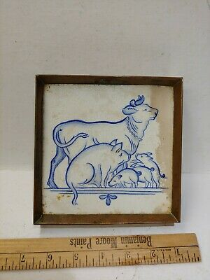 ANTIQUE TILE FROM CZECH RAKO early piece hand painted copper trivet delft blue