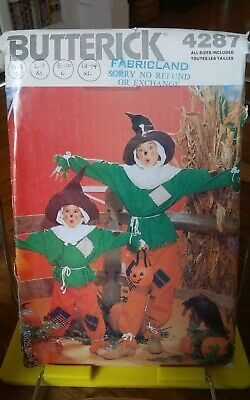 Butterick 4287 Halloween costume pattern only childs Scarecrow sz 4-14 NEW