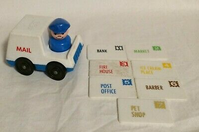 Vintage Fisher Price Little People #997 Lot 7 LETTERS MAIL TRUCK Postal Mailman