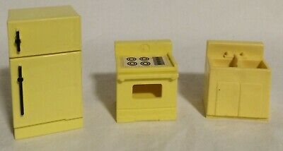 Vintage Fisher Price Little People Lot of 3 KITCHEN SINK STOVE & FRIDGE Yellow