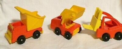 Fisher Price Vintage Little People Construction Lot Fork Lift, Dump Truck & Load