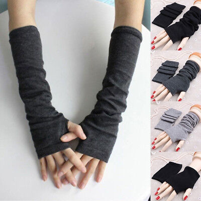 Stretchy Arm Winter Warmers Long Fingerless Gloves Fashion Mittens Women Ladies