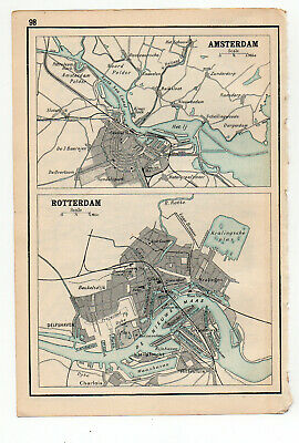 1909 Map Of Amsterdam & Rotterdam Old Antique