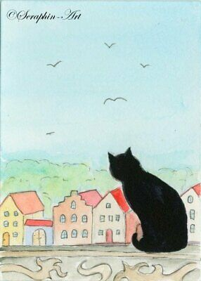 Black Cat Original ACEO Watercolor Painting Village Kitten Fantasy Seraphin-Art