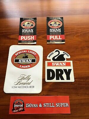 5 Different Swan Beer Stickers