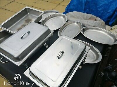 chafing warmer dishes x 2 plus trays