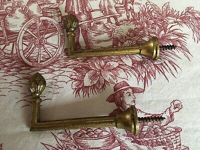 Pair Vintage French Brass Curtain Tie Back Hooks.