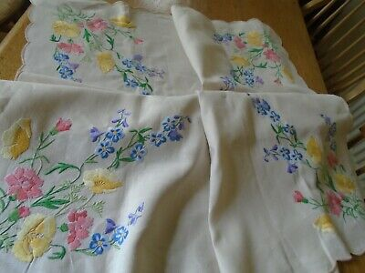 Large  Embroidered Pure Irish Linen Tablecloth - Twin Needle Work