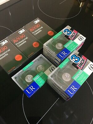 Maxwell UR 60 Audio Cassette Tapes X7 + 3 AVX90 3M Tapes
