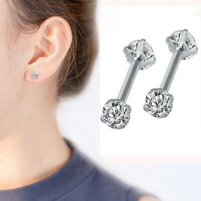 2x Surgical 316L Stainless Steel Stud Earrings Cubic Zircon Round Women