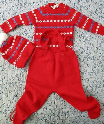 3 pce Childs Outfit Jumper, Overalls & Vest Size 1 NWOT