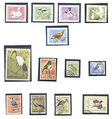 Small lot of Used Stamps showing BIRDS. Nice Thematic lot (724)