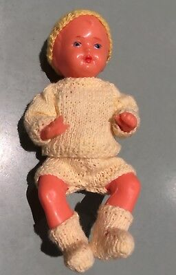 """Made In West Germany Hard Plastic Doll 4.5"""" Moulded Hair Hand Knitted Clothes"""