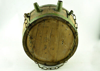 ANTIQUE 10lbs WOODEN HUGE VESSEL KEG WATER CANTEEN WROUGHT IRON BANDED HANDMADE