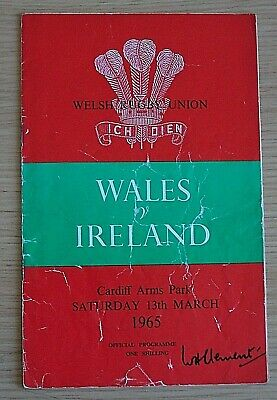 Vintage 1965 Five Nations Rugby Union Programme, Wales v Ireland