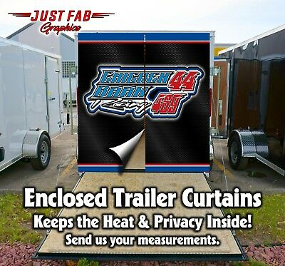 Race Team Custom Enclosed Trailer Rear Door Curtains Yamaha Kawasaki Ski-Doo