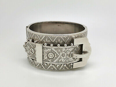 Gorgeous Antique Victorian English Sterling Silver Wide Buckle Bangle Bracelet