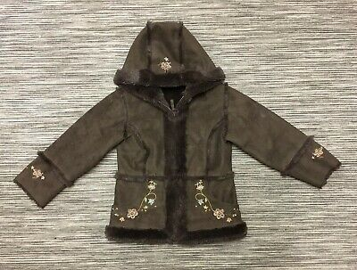 Rothschild Girls Hooded Faux Fur Shearling Coat Brown 5/6 Years