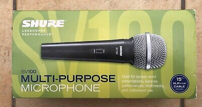 SHURE SV100 unidirectional (cardioid) general purpose Microphone c/w 4.5m Cable