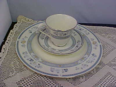 Royal Doulton Minton PENROSE Dinner Plate Cup and Saucer Silver Trim Floral