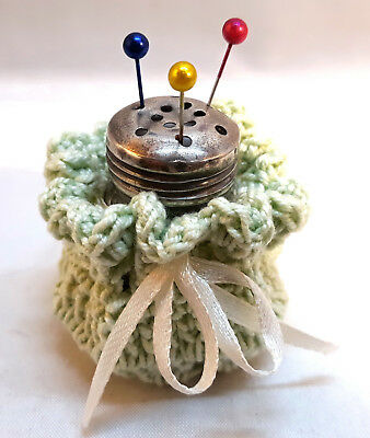 Handmade Sterling Silver Pin Cushion Holder Embroidery Needlework Sewing tools F