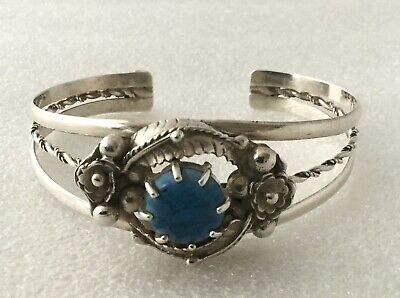 Vintage Ornate Sterling Silver 925 & Turquoise Cuff Bangle - Flowers & Leaves
