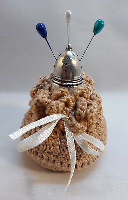 Handmade Sterling Silver Pin Cushion Holder Embroidered Needlework Sewing tool F