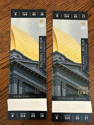 Notre Dame Football vs Virginia Tech 2 Tickets