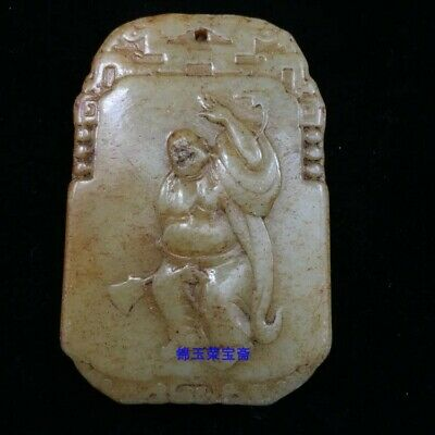 """3"""" China Natural carved old antique hetian jade Buddhism Buddha statue Pendant"""