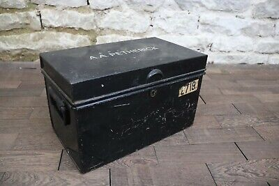 Old Veteran Black Lockable Metal Money Safe Deed Box Document Tool Storage Home