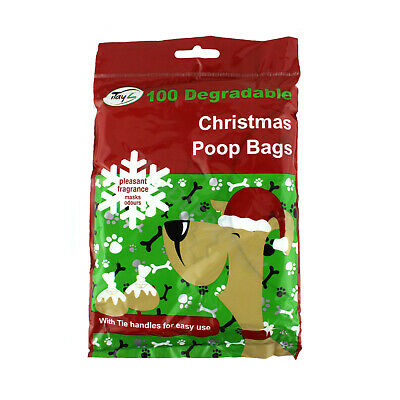 100 Biodegradable Dog Poo Bags Christmas Pudding Doggy Poop Waste Tie Handles