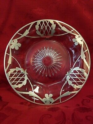 """Antique Sterling Silver Floral Thistle Overlay Starburst Crystal/Glass Plate 7"""""""