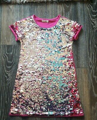 Girls beautiful sequin pink party dress.   Age 6-7