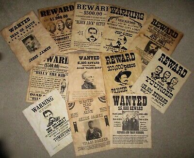 Jesse James Doc Holliday Billy the Kid The Younger Gang Old West Wanted Posters
