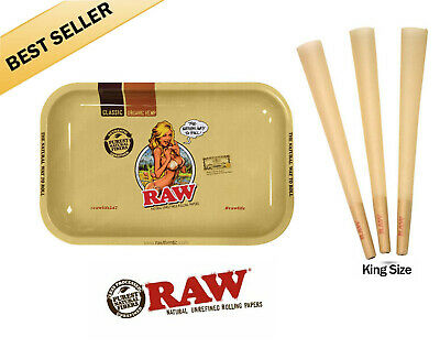 RAW Cones King Size Authentic Pre-Rolled Cones w/ Filter (100 Pack) +Raw Tray