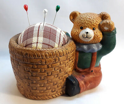 PUNTASPILLI ORSETTO VINTAGE cucito Handmade Bear Pin Cushion Holder Embroidery