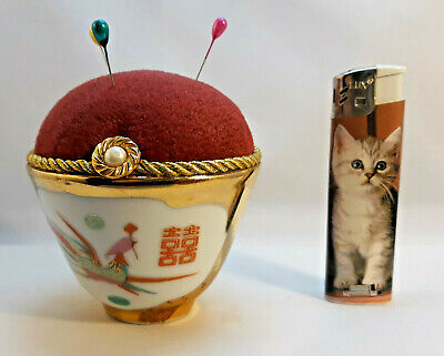 Handmade vintage velvet pincushion Chinese porcelain china cup Pin Holder Sewing