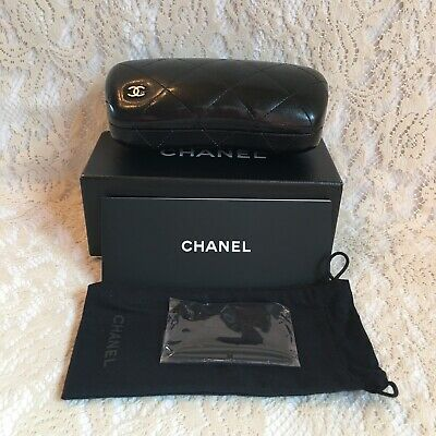 Chanel Quilted Black Sunglass Eyeglass Case Kit Travel Summer Gift Made in Italy