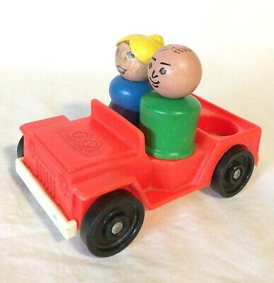 Vintage Fisher Price Little People #990 Lot RED WHITE JEEP 2 People Man & Woman