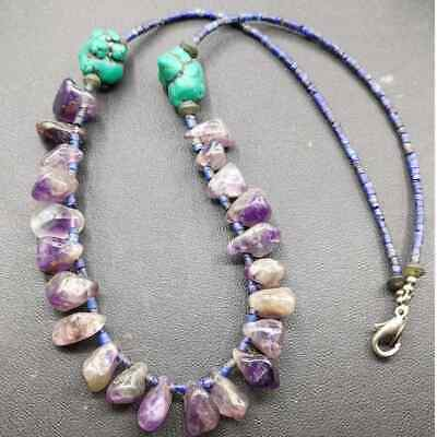 Old Amethyest stone Lapis lazuli Beautiful Beads Necklace