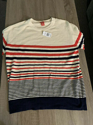 Izod Blue Orange Cream Striped Sweater Mens XL