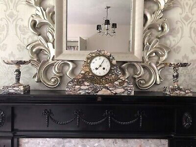 Victorian French Marble Clock With Garnishes Circa 1880 By Jape Freres