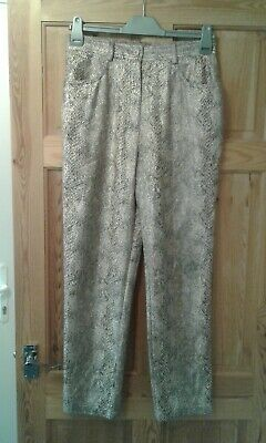 Together Vintage Brown Mix Snakeskin Pattern Trousers Size 14