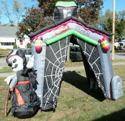 RARE Gemmy Inflatable HAUNTED HOUSE Ghost Town Halloween Sounds & Lights