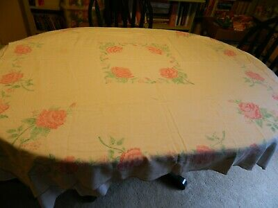 Vintage Square Hand Painted Pink Roses On White Linen Tablecloth
